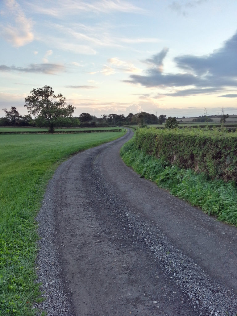 Winding country lane and evening sky