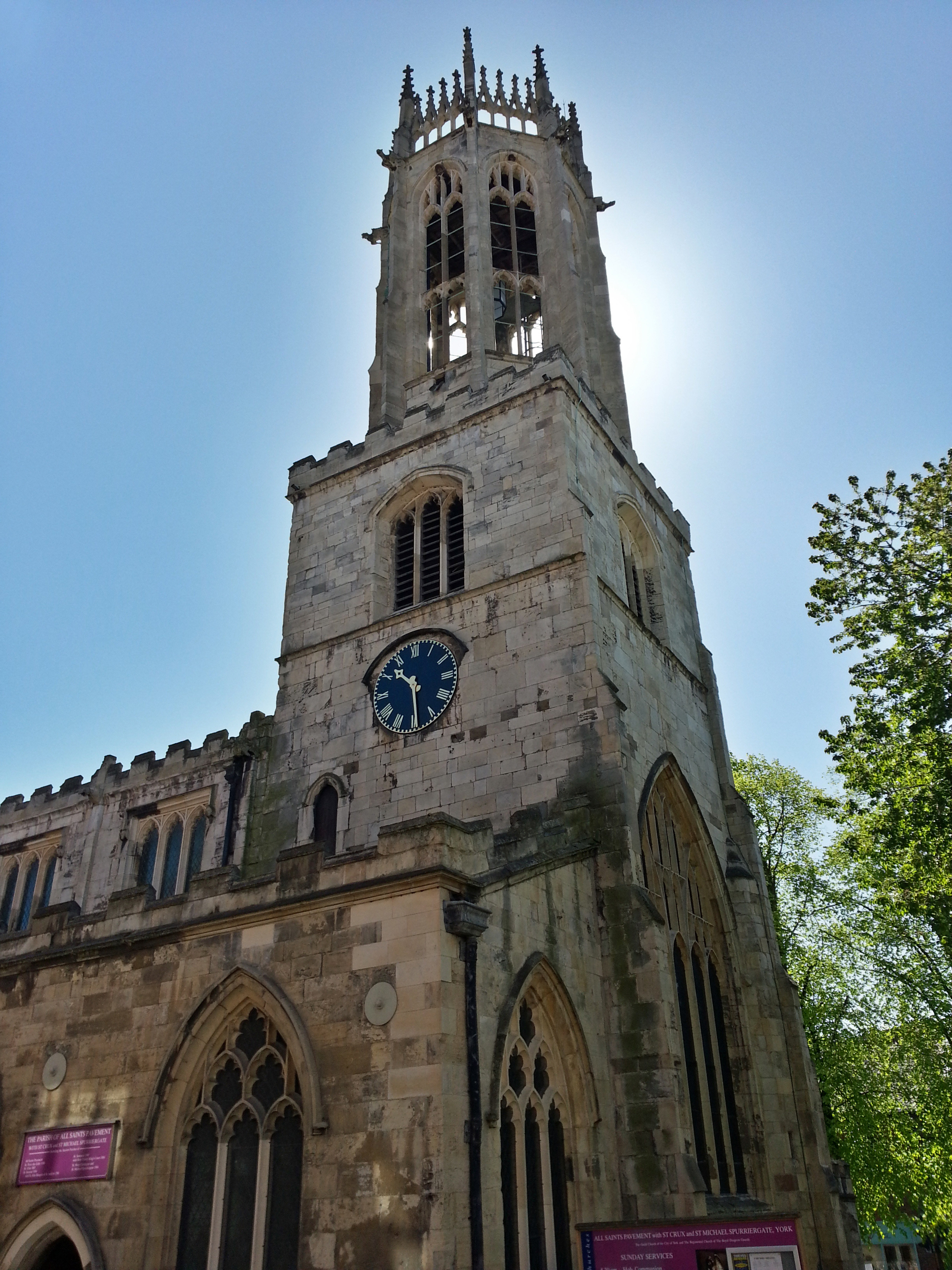All Saints Church in York, clear blue sky