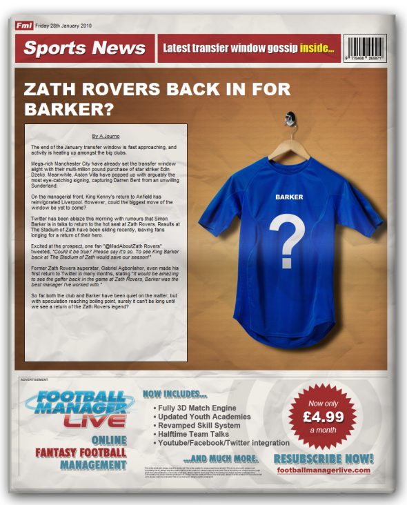 """""""Zath Rovers Back In For Barker"""" – Email Marketing Done Well By Football Manager Live?"""